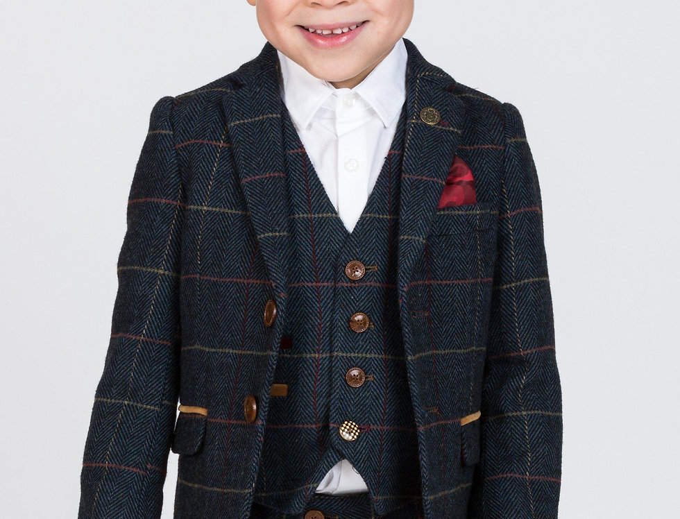 Marc Darcy Kids - ETON - Navy Blue Tweed Check Three Piece Suit