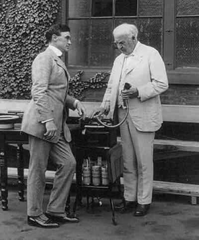 Edwin C. Barnes (left) and Thomas Edison look over an Ediphone outside Edison's West Orange laboratory complex in New Jersey. (Image courtesy: http://www.bridgetostrength.com)
