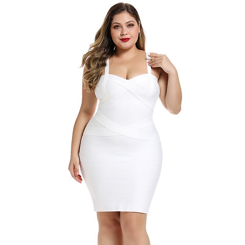 White Plus Size Striped Over Knee Sleeveless Strapy Bandage Dress