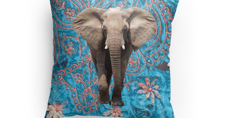Elephant in Teal Pillow