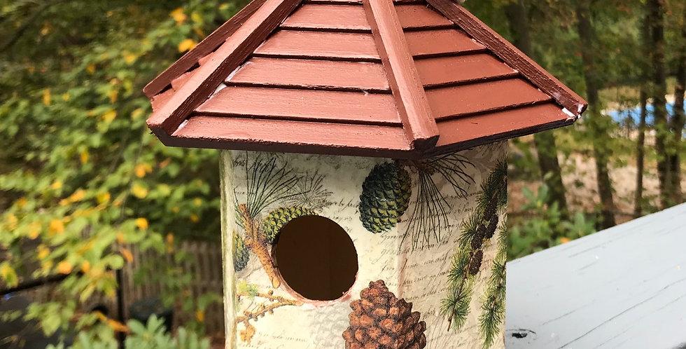 Evergreens and Cones birdhouse
