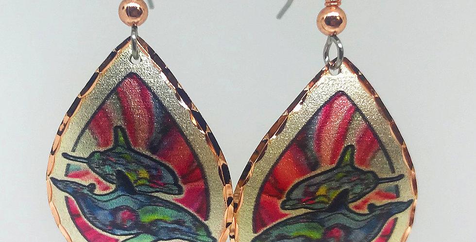 Dolphin Earrings in Copper