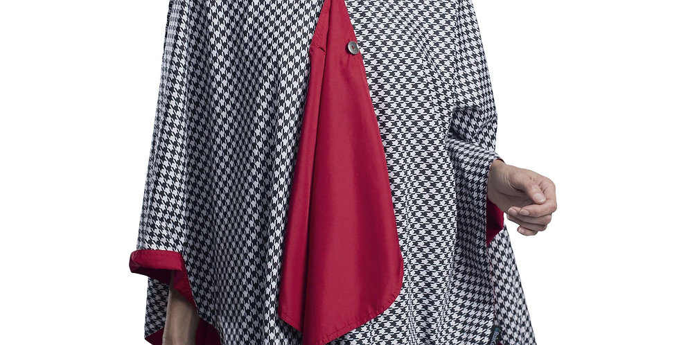 Houndstooth: black,white and red Rain Cape