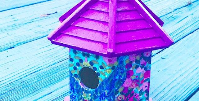 Abstract Peacock Birdhouse