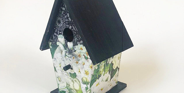Black and White A frame birdhouse
