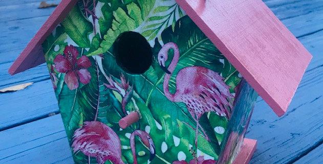 Large Birdhouse with Flamingos