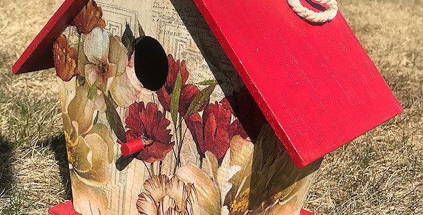 Large Birdhouse with Tulips and Dogwood