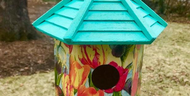 Tulip and Butterfly Gazebo Birdhouse