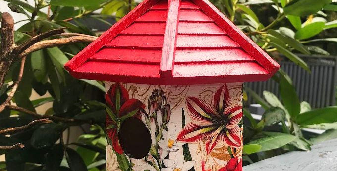 Red  and White Floral Birdhouse
