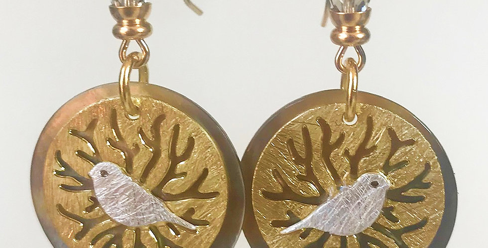 Abstract Bird and Tree Earring