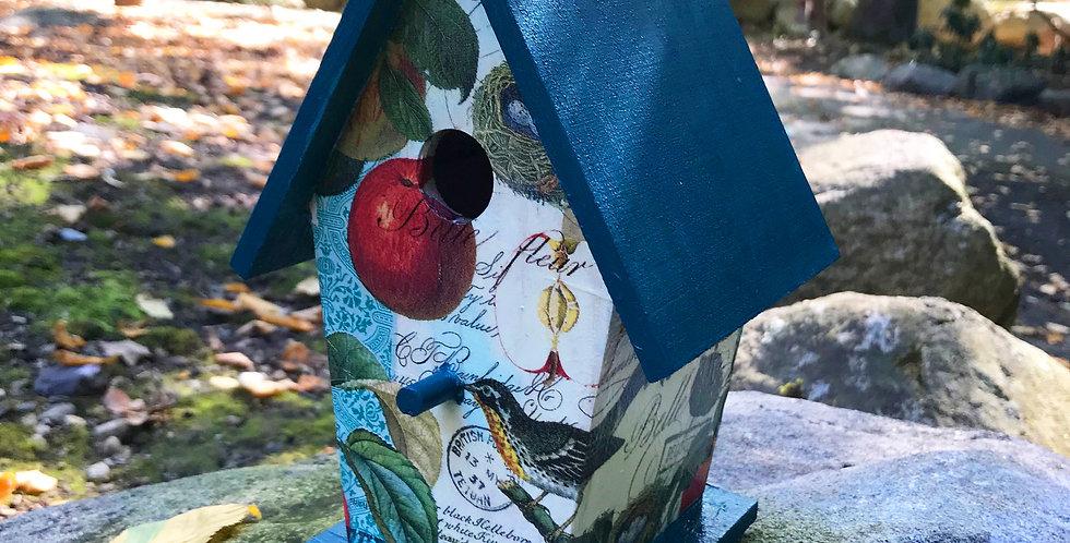 Apple and bird A-frame birdhouse