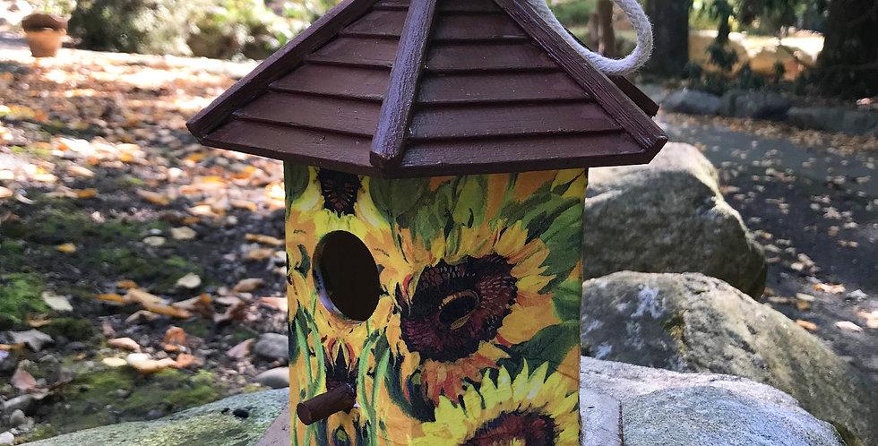 Birdhouse with Sunflowers