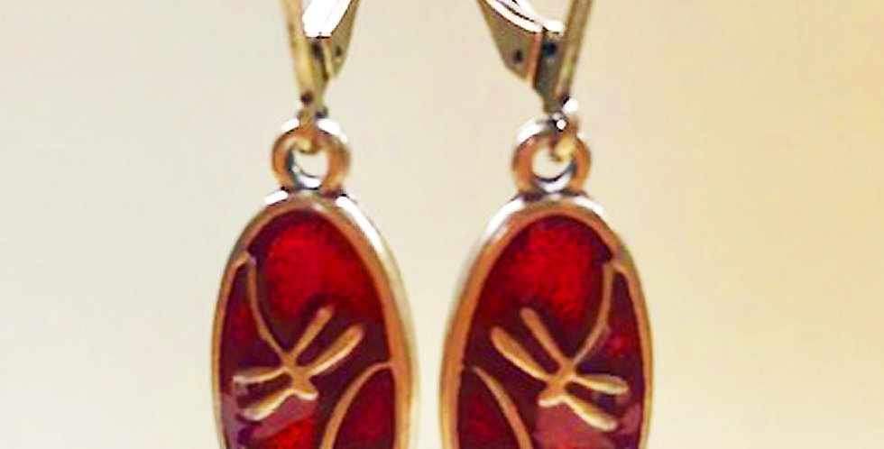 Small Dragonfly Earring in Red