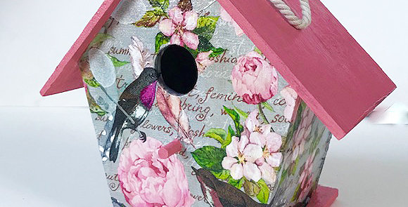 Large Birdhouse in pink and Gray