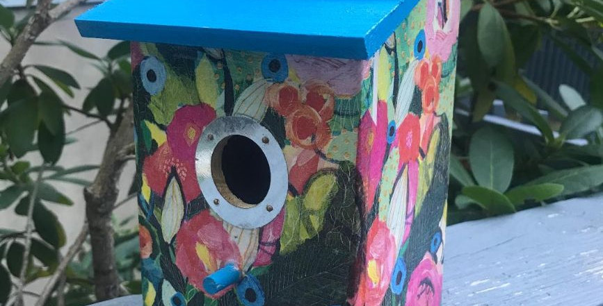 Abstract Vibrant Birdhouse with open door