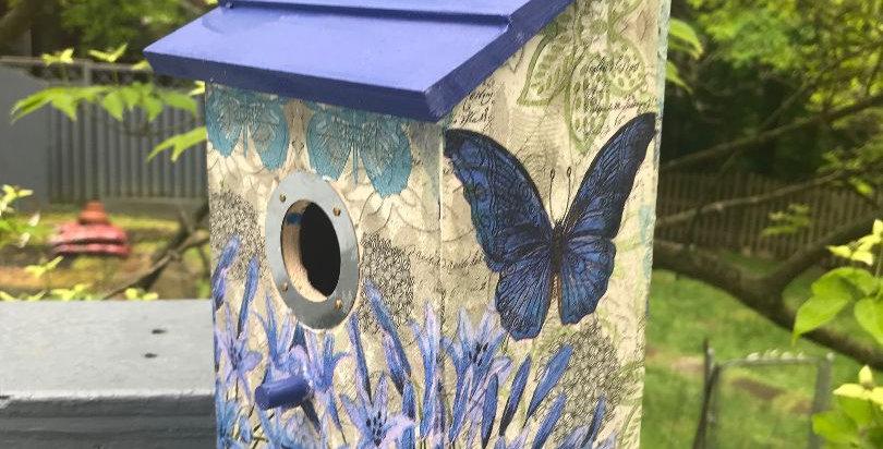 Open Door  Birdhouse with Butterfly