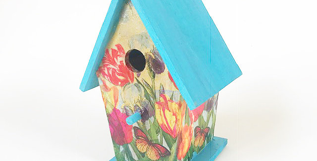Tulips and butterfly A-Frame Birdhouse