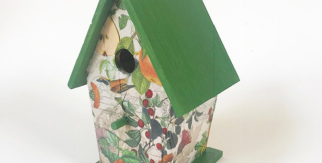 Pears and Birds A-frame birdhouse
