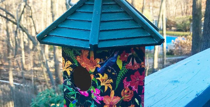 Dark Floral Birdhouse