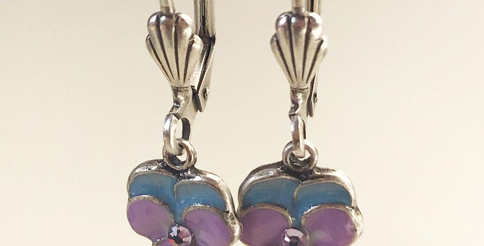 Small Purple Flower Earring