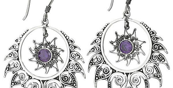 Amethyst Sun & Star Earring