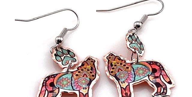 Psychedelic Wolf Earring