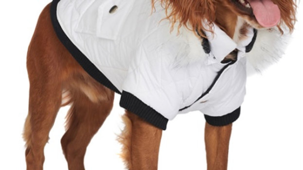 White Quilted Dog Parka Size L