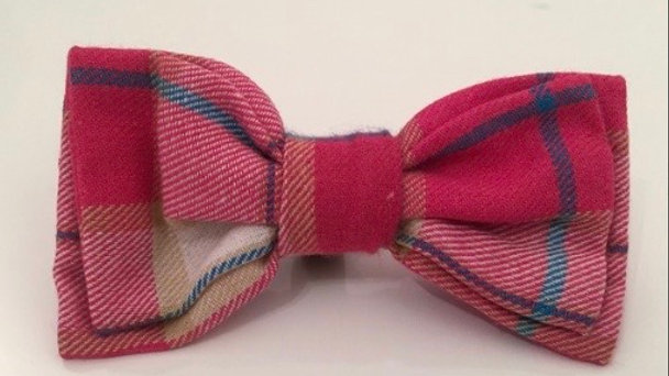 Wagytail Pink Plaid Bowtie