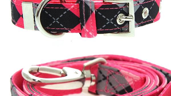 Urban Pup Pink Argyle Collar & Lead Set Size M