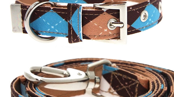 Urban Pup Brown & Blue Argyle Dog Collar & Lead Set Size M