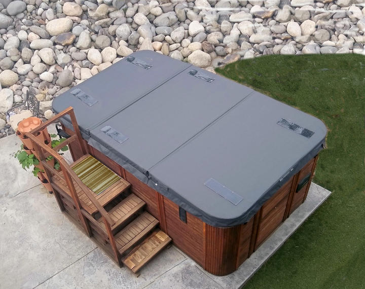 Three section swim spa DuraCore Solar with body mounted PV panels.