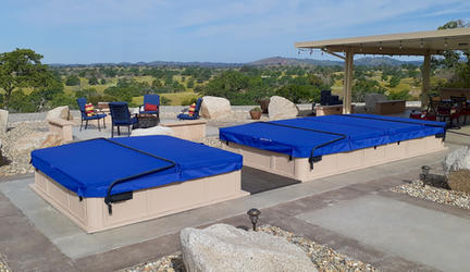 Royal blue swimspa and hot tub cover in California.