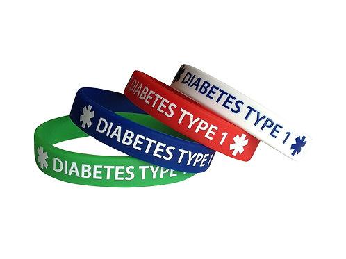 Браслет диабетика силиконовый DIABETES TYPE 1 набор из 4-х штук