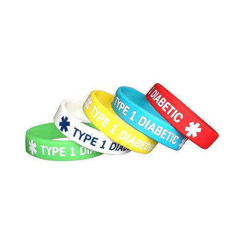 Браслет для ребенка диабетический силиконовый TYPE 1 DIABETIC набор из 5-и штук