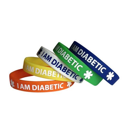 Браслет диабетика силиконовый I AM DIABETIC набор из 5-и штук