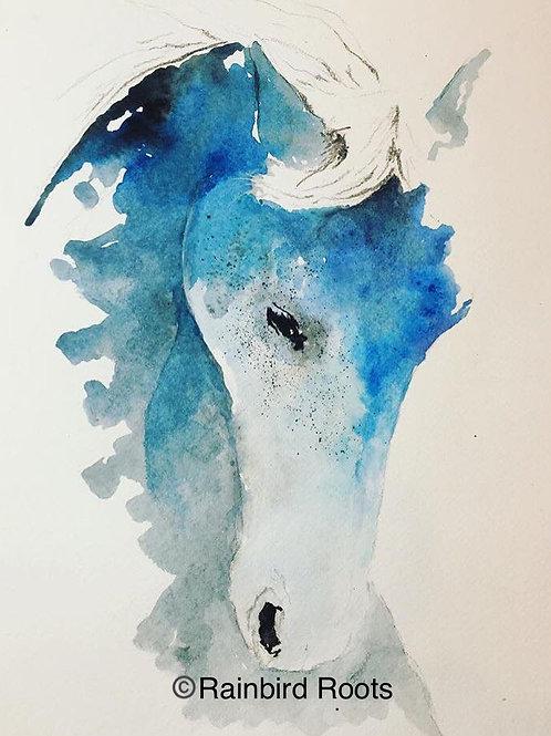 Blue Horse Print