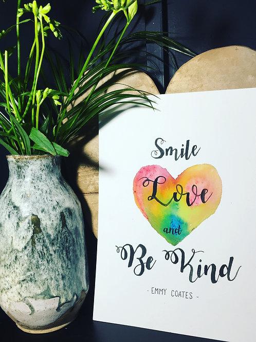 "Emmy Coates ""Smile, Love & Be Kind"" Print"