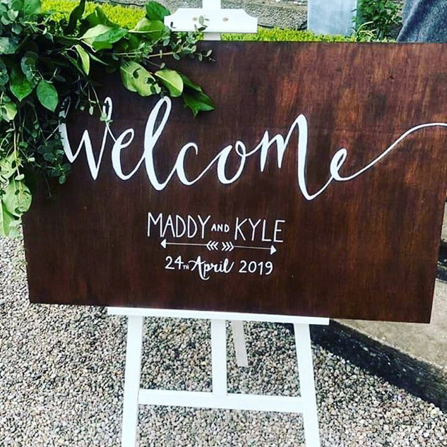 Wedding Board handstained and lettered b