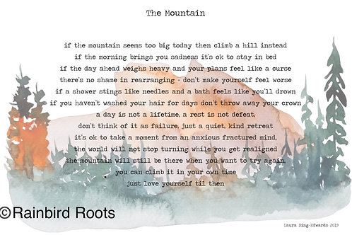 The Mountain Poem by Laura Ding-Edwards - Muted Landscape Print