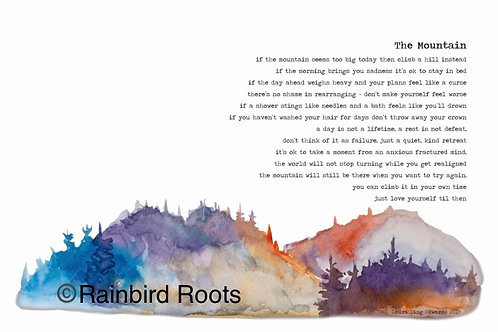 The Mountain Poem by Laura Ding-Edwards - Multicolour Landscape Print