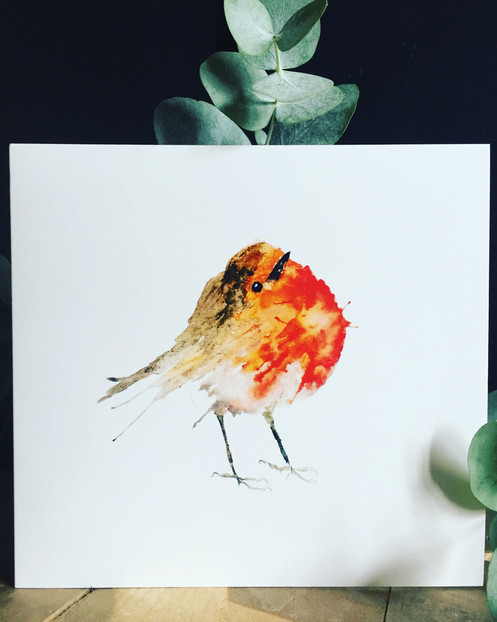 c5e130242 The perfect little visitor - this red robin card features an original  watercolour image and is left black for your own message.