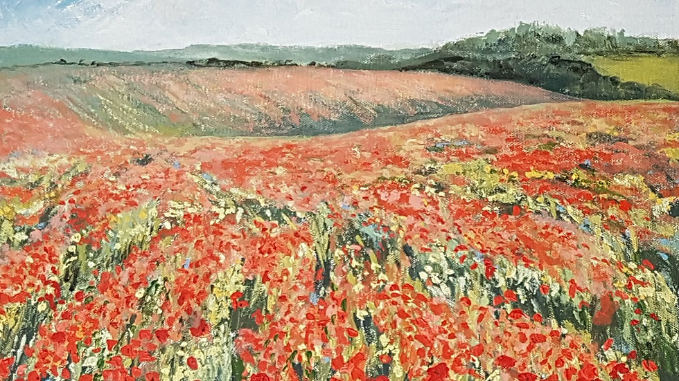 Poppies over the Downs near Ditchling SOLD
