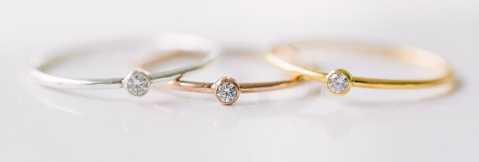 Stacking Rings - CZ Stone