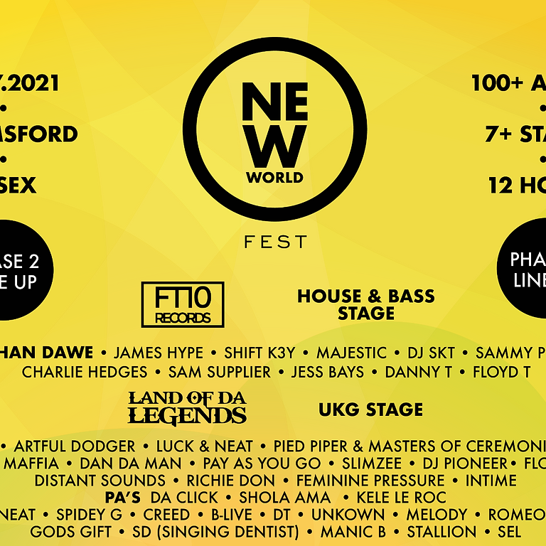 NEW WORLD FEST    17-7-21    100+ Artists  7 + stages