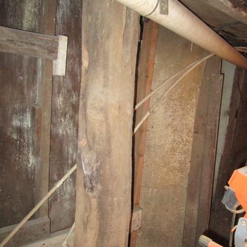 Tree trunks were used as beams in the Nace Building foundation