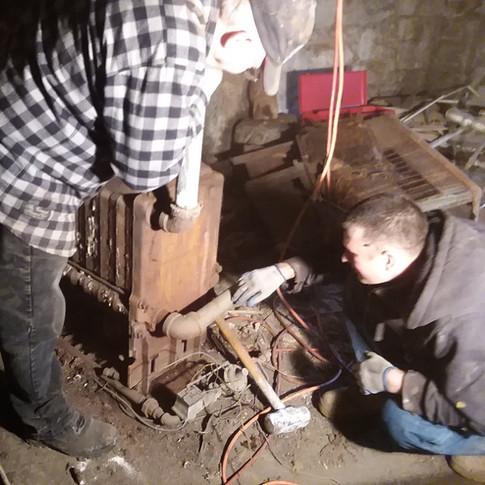 Jeff DeCort and Heath Rankin of the Lisbon Landmark Foundation hard at work