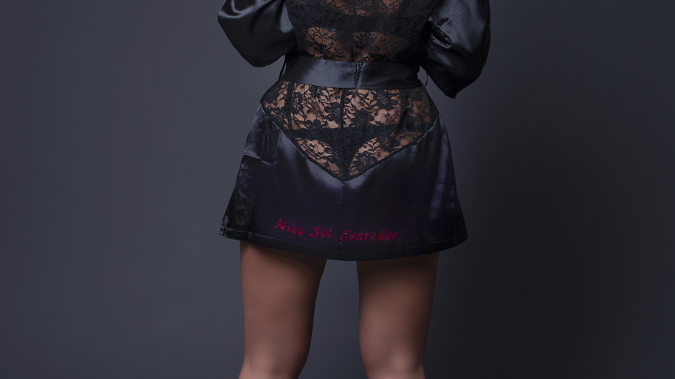 Lace Back Transparent Robe Nightdress With Thong Set