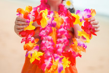 Hawaiian Lei in the hands of a close-up