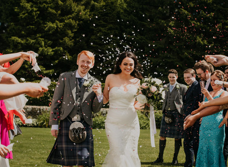 Kerry and Robert's beautiful Harburn Barn wedding in June
