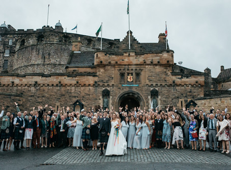 Clare and Sam's colourful wedding - Edinburgh in May